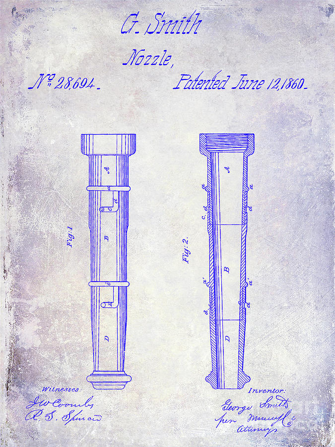 Fire Hydrant Photograph - 1860 Fire Hose Nozzle Patent Blueprint by Jon Neidert
