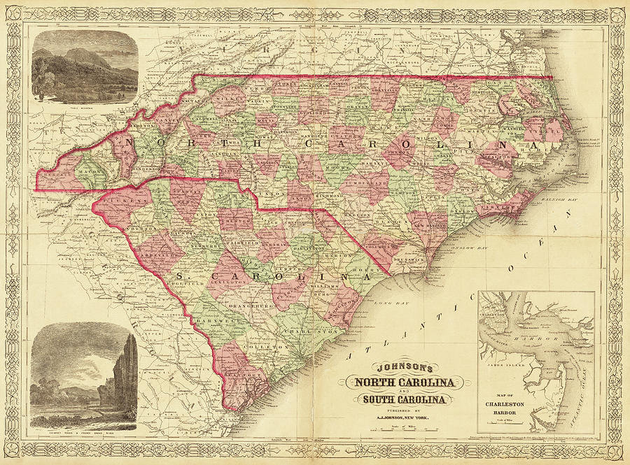 1865 Map Of North And South Carolina Nc Sc Digital Art by Toby ...
