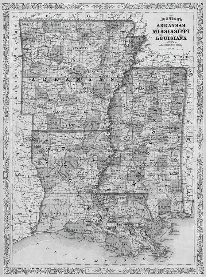 1866 Map Of Arkansas Mississippi And Louisiana Historical Map
