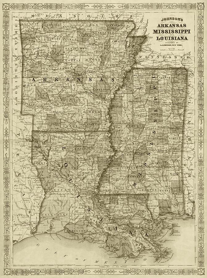 Mississippi And Louisiana Map.1866 Map Of Arkansas Mississippi And Louisiana Historical Map