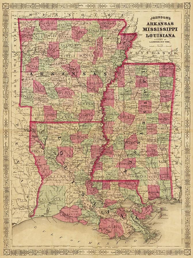 Arkansas And Louisiana Map.1866 Map Of Arkansas Mississippi And Louisiana Historical Map