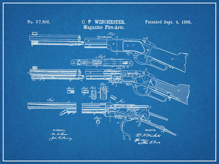 Framed Winchester Lever Action Rifle Print Winchester Rifle Marksman Gift