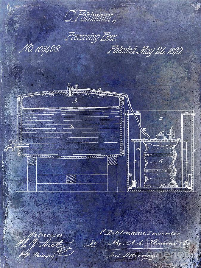 Beer Photograph - 1870 Beer Preserving Patent Blue by Jon Neidert