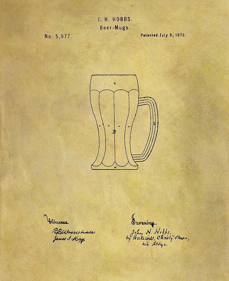 1872 Beer Mug Patent Drawing