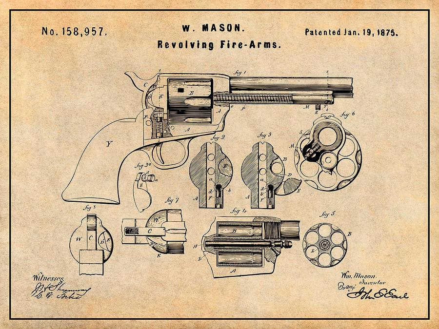 1875 Colt Peacemaker Patent Print Antique Paper by Greg Edwards