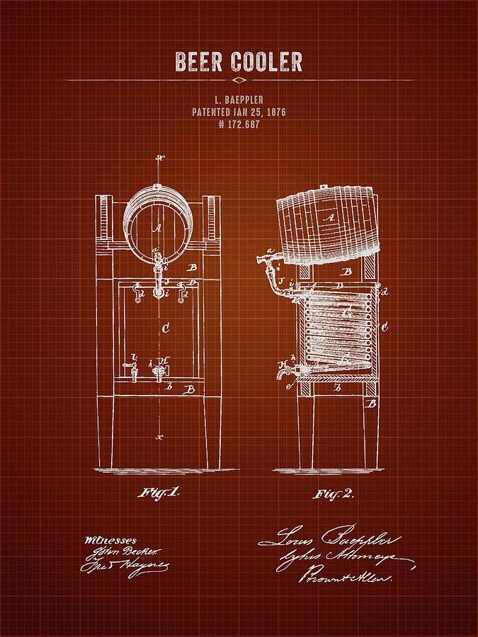 Brewing Beer Digital Art - 1876 Brewing Cooler - Dark Red Blueprint by Aged Pixel