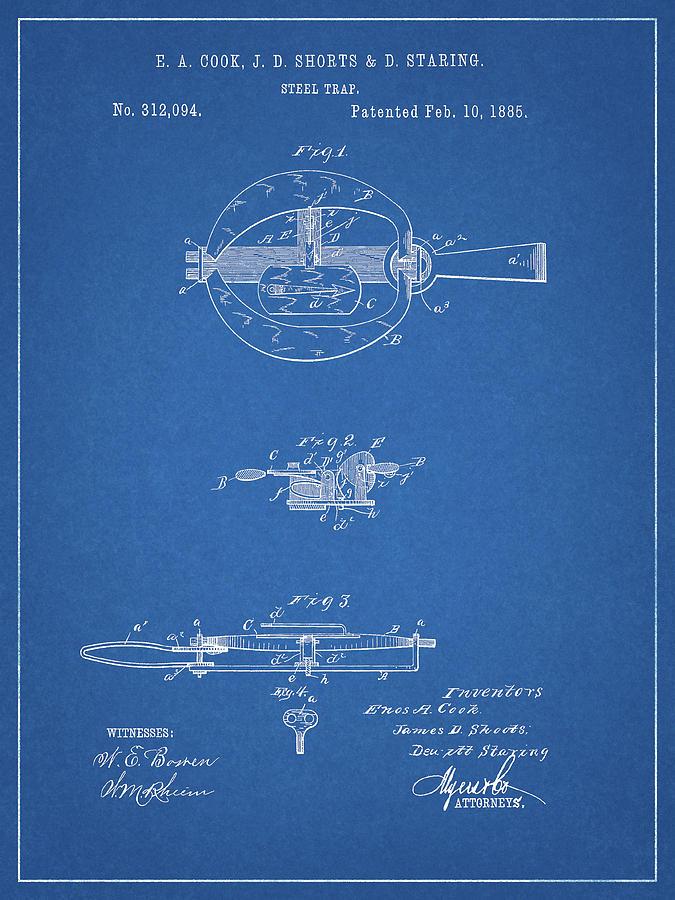1885 Animal Trap Patent Drawing