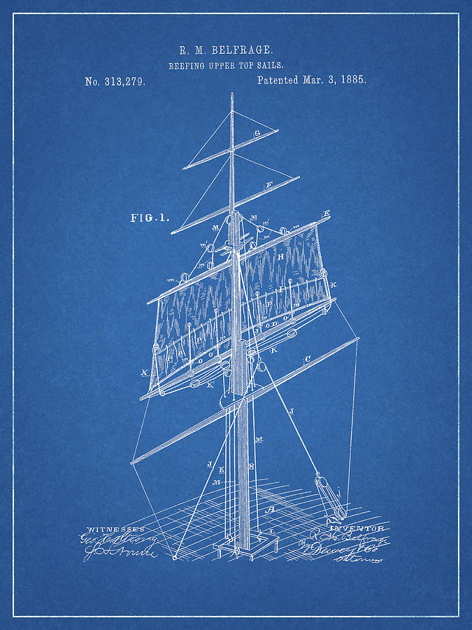 Rig Drawing - 1885 Sails Patent by Dan Sproul