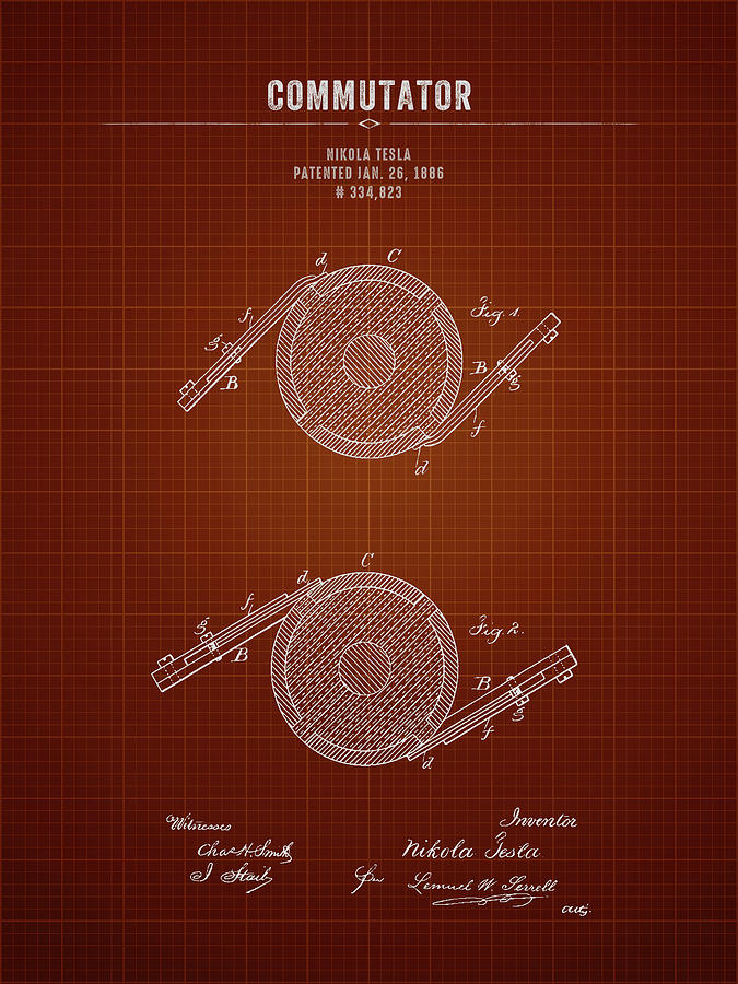 1886 Nikola Tesla Commutator - Dark Red Blueprint Digital ...