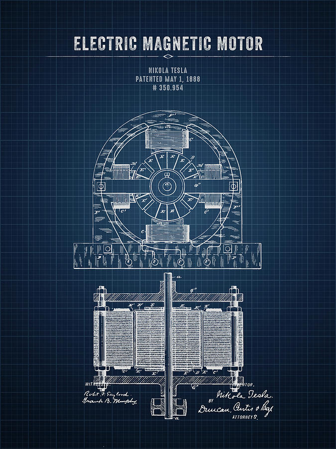 Nikola Tesla Digital Art - 1888 Nikola Tesla Electric Magentic Motor - Dark Blueprint by Aged Pixel