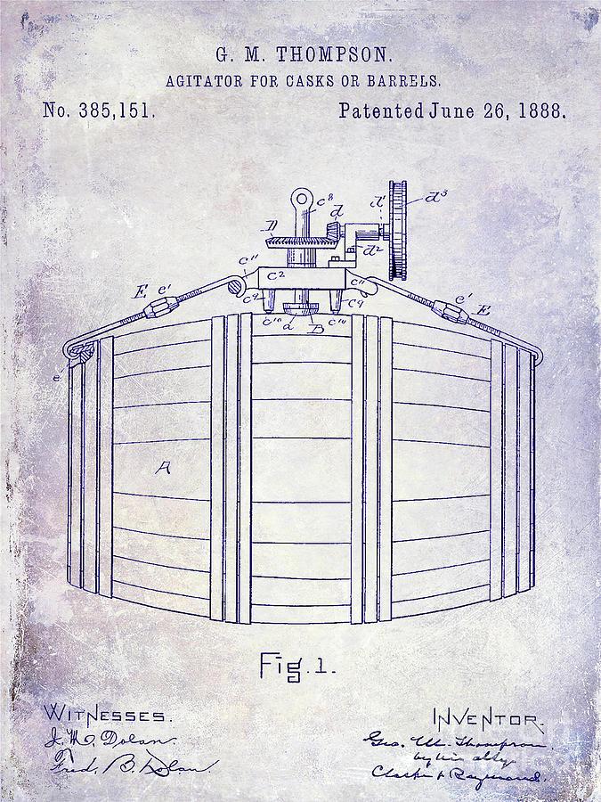 Barrel Photograph - 1888 Whiskey Or Beer Barral Patent Blueprint by Jon Neidert
