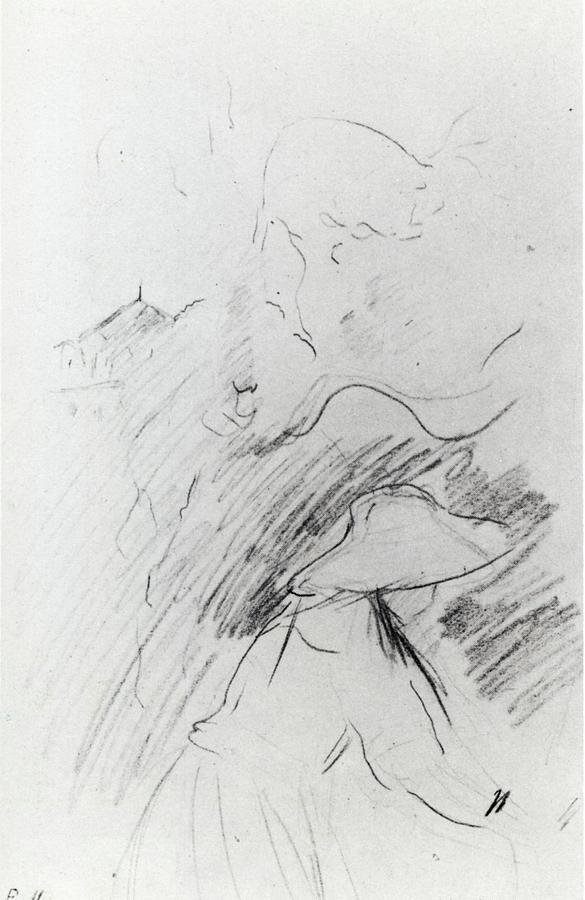 1890 Jeune Fille Dans Le Jardin De Mezy Dessin Crayon De Couleur