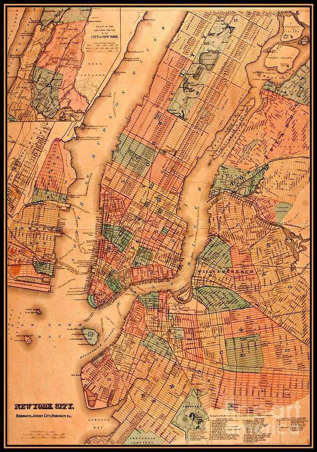 1890 Map Of New York City Brooklyn Jersey City And Hoboken