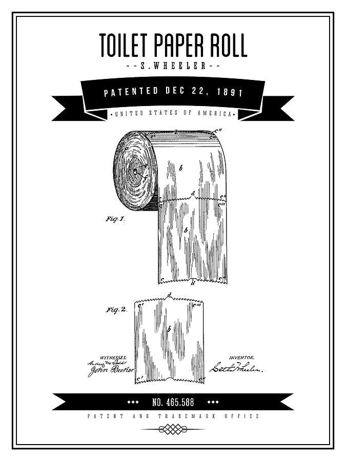 Toilet Paper Digital Art - 1891 Toilet Paper Roll - Black Retro Style by Aged Pixel