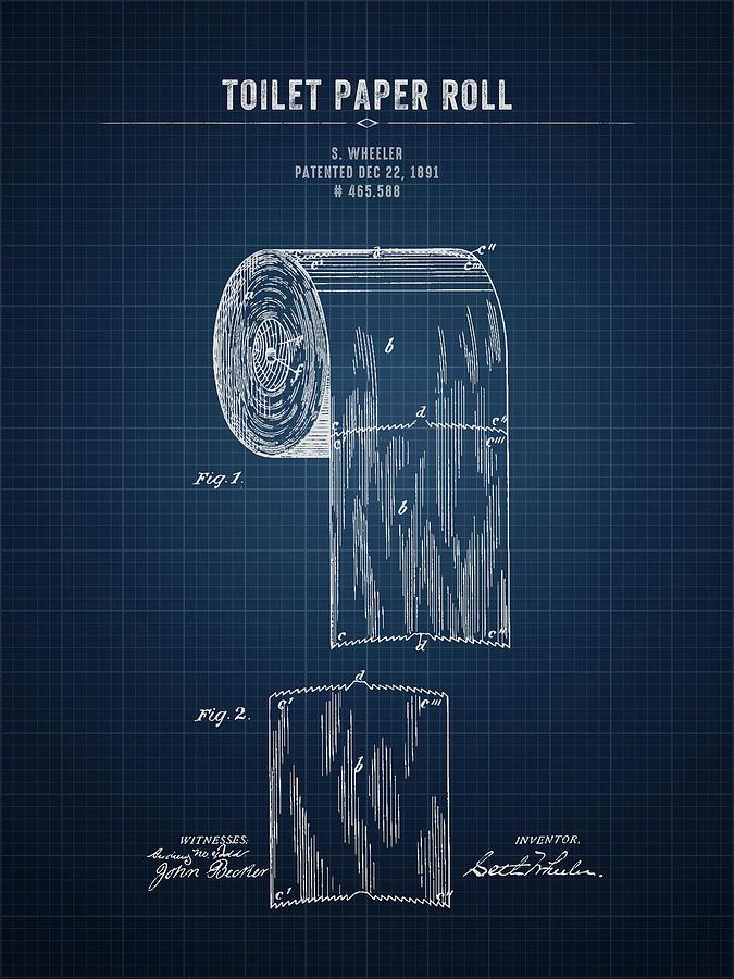 Toilet Paper Digital Art - 1891 Toilet Paper Roll - Dark Blue Blueprint by Aged Pixel