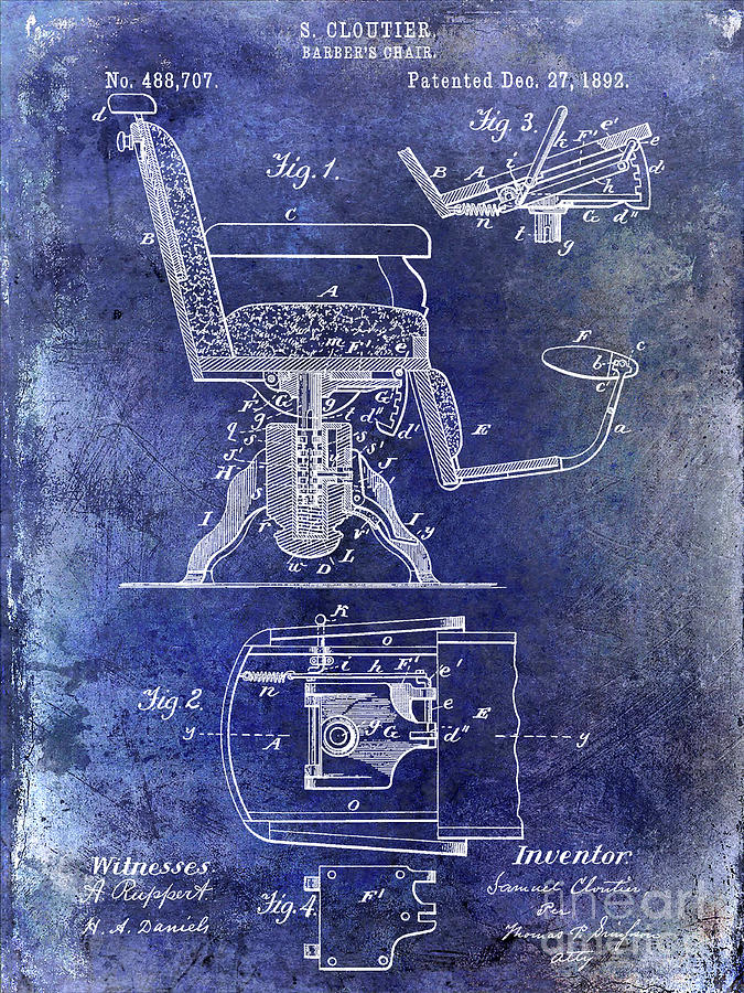 Drawing Photograph - 1892 Barbers Chair Patent Blue by Jon Neidert