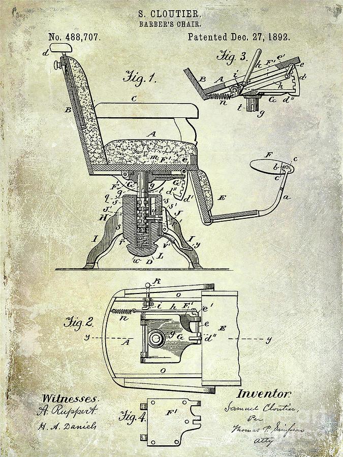 Drawing Photograph - 1892 Barbers Chair Patent  by Jon Neidert