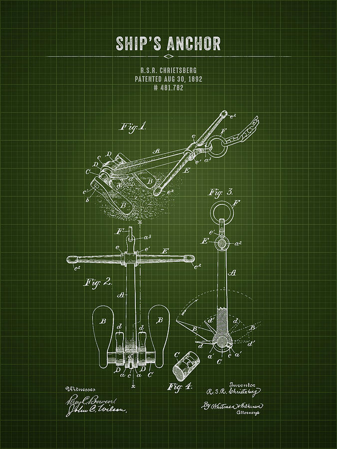 Anchor Digital Art - 1892 Ships Anchor - Dark Green Blueprint by Aged Pixel