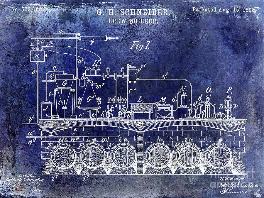 Beer Photograph - 1893 Beer Brewing Patent Blue by Jon Neidert