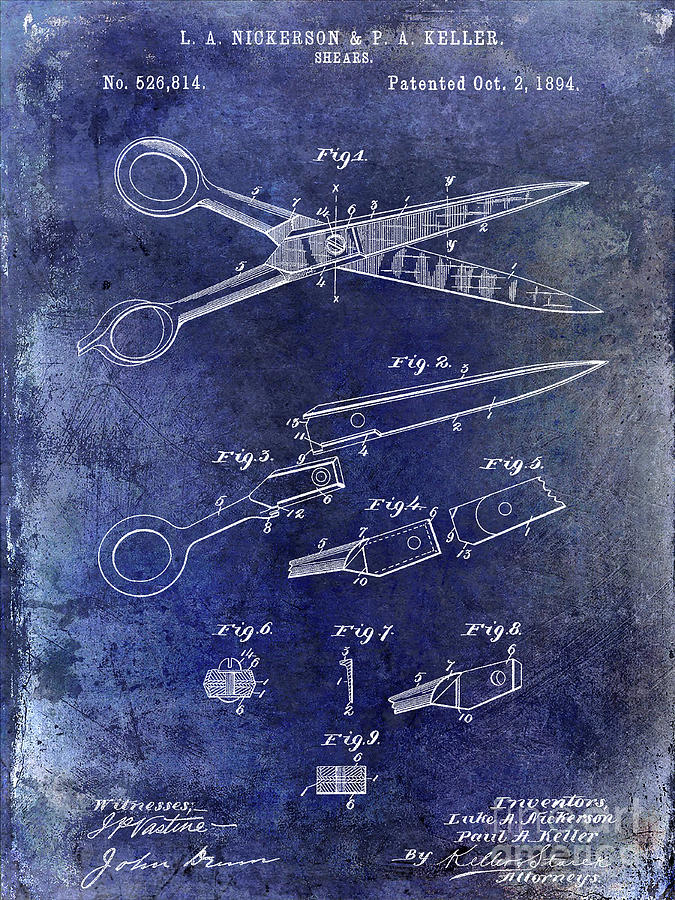 Drawing Photograph - 1894 Barbers Shears Patent Blue by Jon Neidert