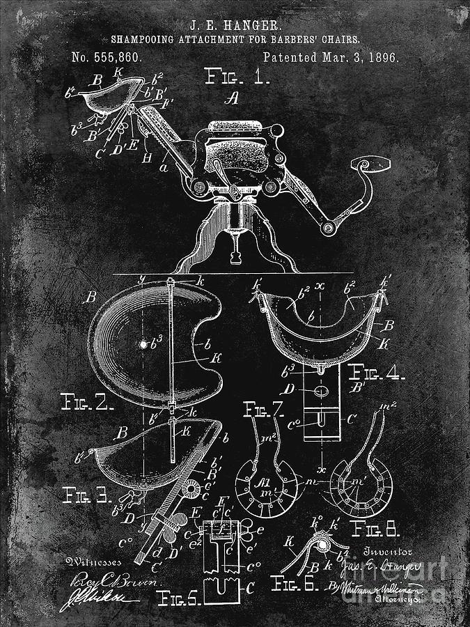 Drawing Photograph - 1896 Barbers Chair Patent Black by Jon Neidert