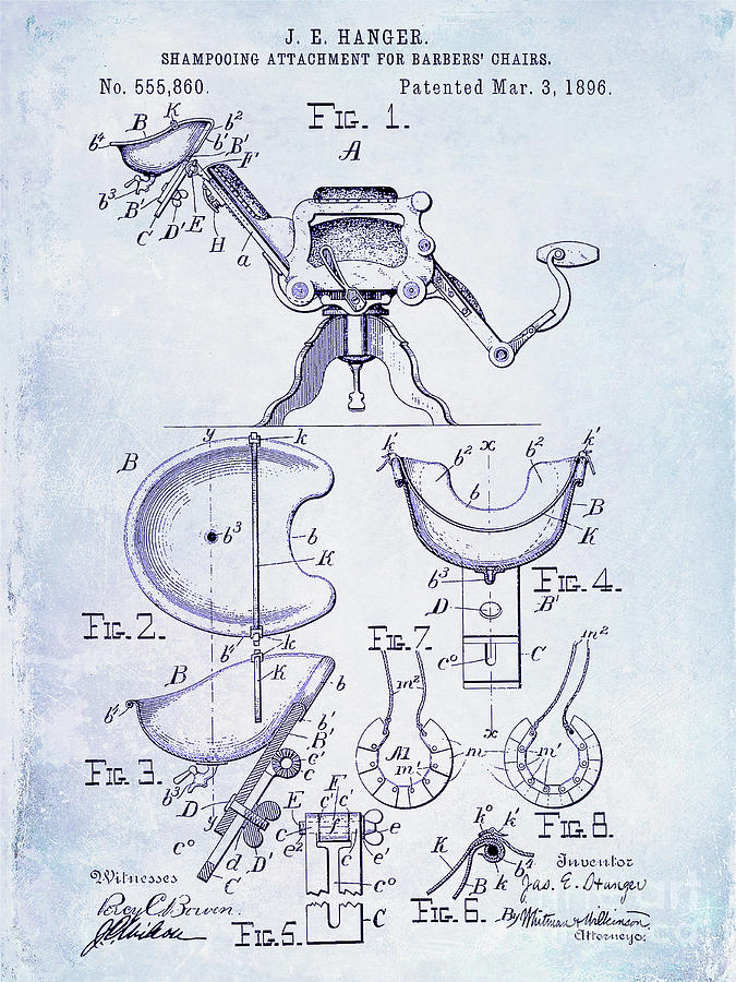 Drawing Photograph - 1896 Barbers Chair Patent Blueprint by Jon Neidert