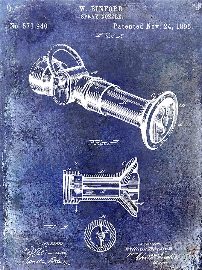 Fire Hydrant Photograph - 1896 Fire Hose Spray Nozzle Patent Blue by Jon Neidert