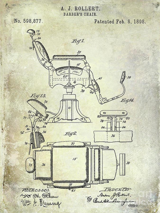 Drawing Photograph - 1898 Barber Chair Patent  by Jon Neidert