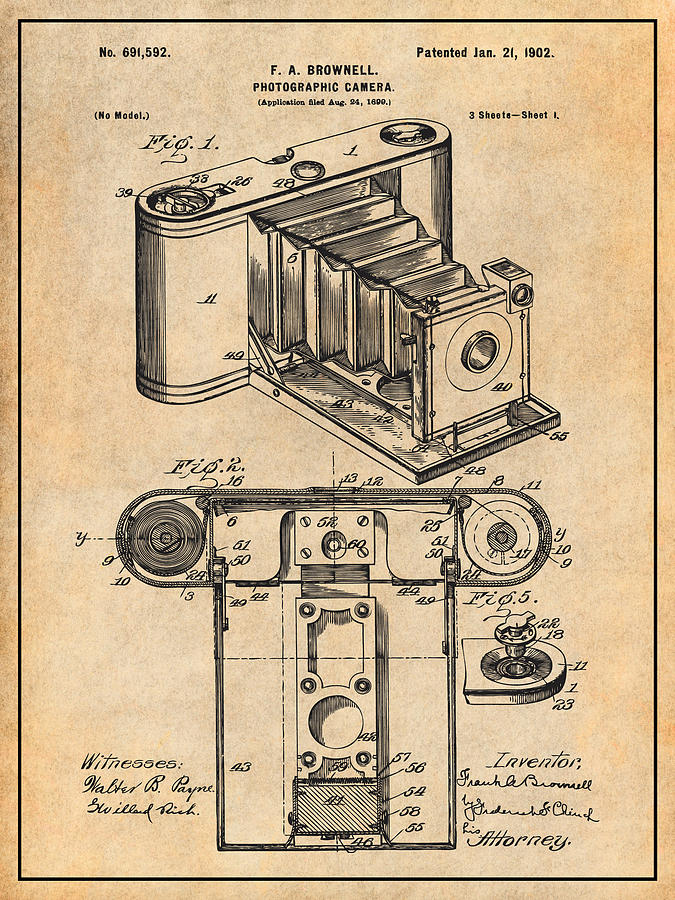 Art & Collectibles Drawing - 1899 Photographic Camera Patent Print Antique Paper by Greg Edwards
