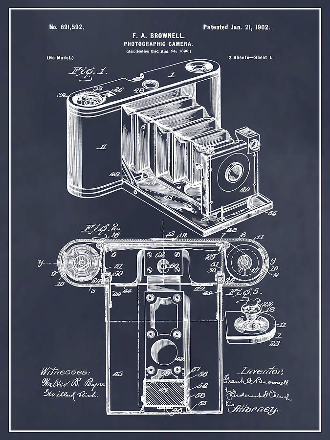 Art & Collectibles Drawing - 1899 Photographic Camera Patent Print Blackboard by Greg Edwards