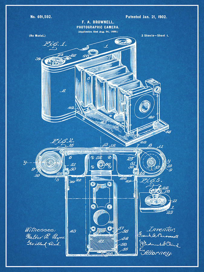 Art & Collectibles Drawing - 1899 Photographic Camera Patent Print Blueprint by Greg Edwards