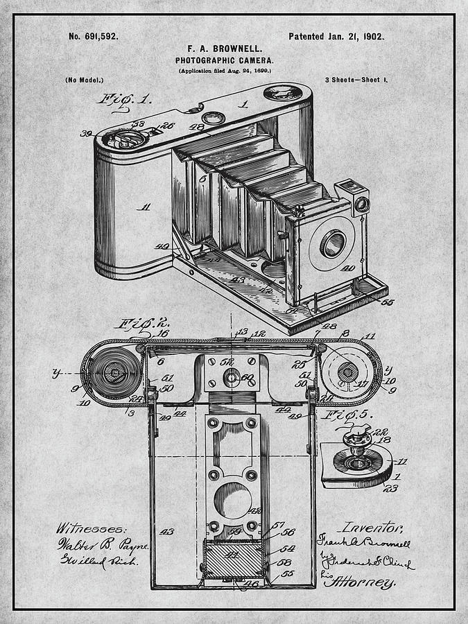 Art & Collectibles Drawing - 1899 Photographic Camera Patent Print Gray by Greg Edwards
