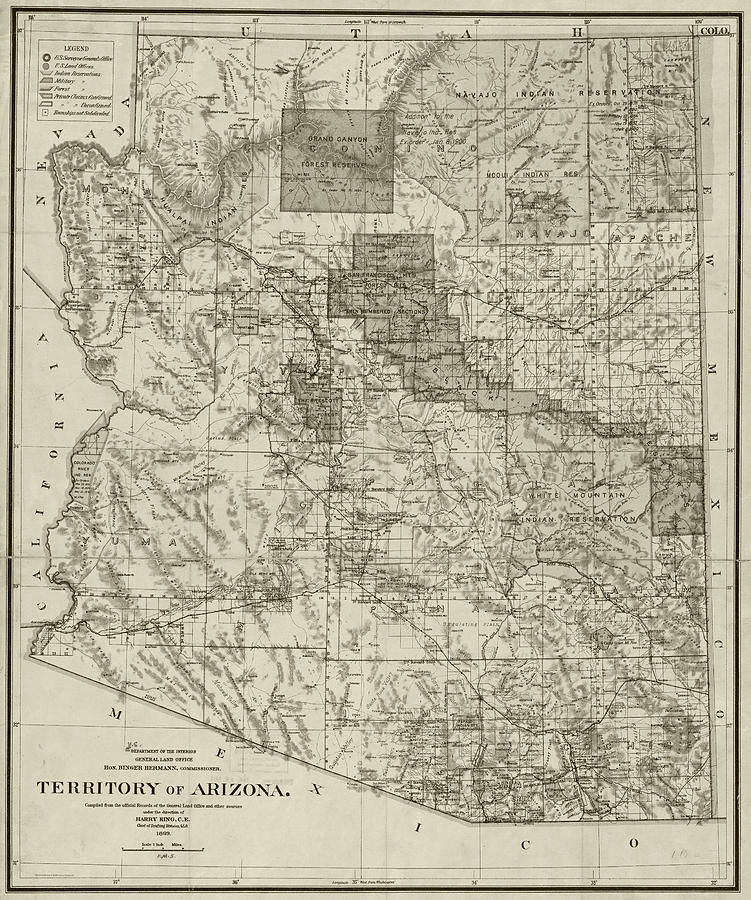 Map Of Arizona Historical Sites.1899 Territory Of Arizona Map Historical Map Sepia By Toby Mcguire