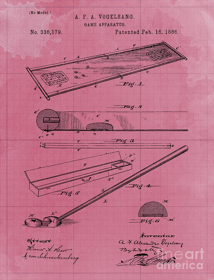 Vintage Game Apparatus Patent Year 1886 Drawing