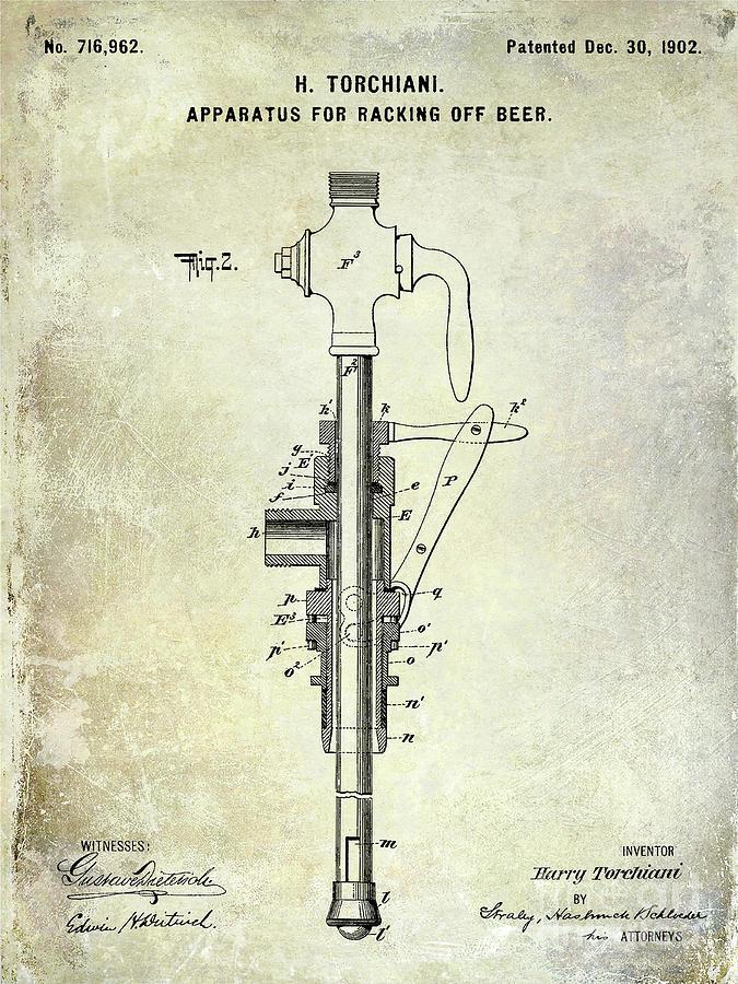 Beer Photograph - 1902 Beer Patent by Jon Neidert
