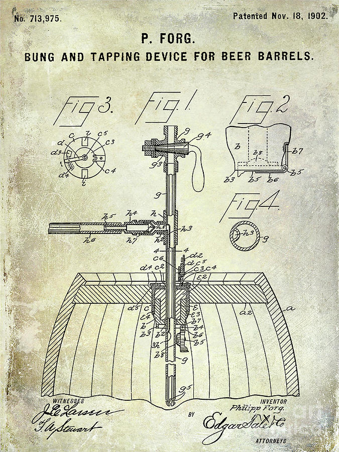 Beer Photograph - 1902 Beer Tapping Device Patent by Jon Neidert