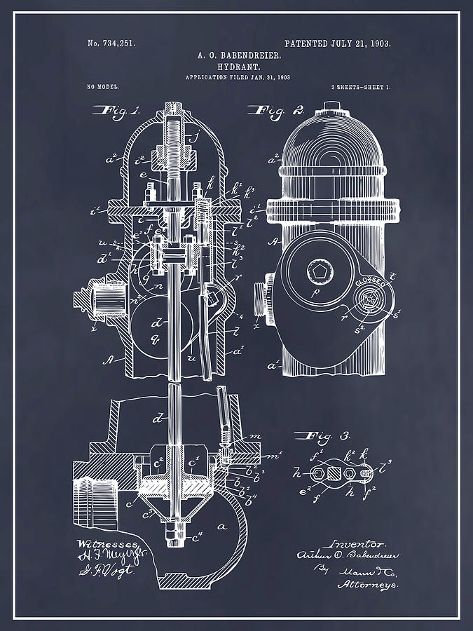 Art & Collectibles Drawing - 1903 Fire Hydrant Blackboard Patent Print by Greg Edwards