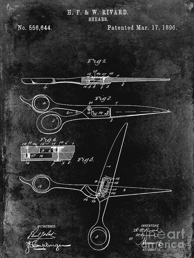 Drawing Photograph - 1906 Barbers Shears Patent Black by Jon Neidert
