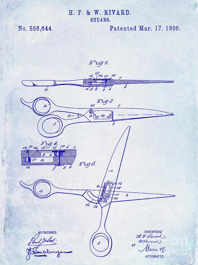 Drawing Photograph - 1906 Barbers Shears Patent Blueprint by Jon Neidert