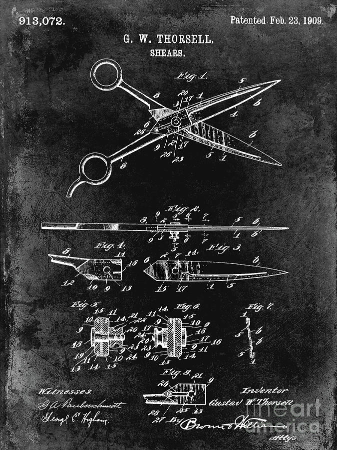 Drawing Photograph - 1909 Barber Shears Patent Black by Jon Neidert