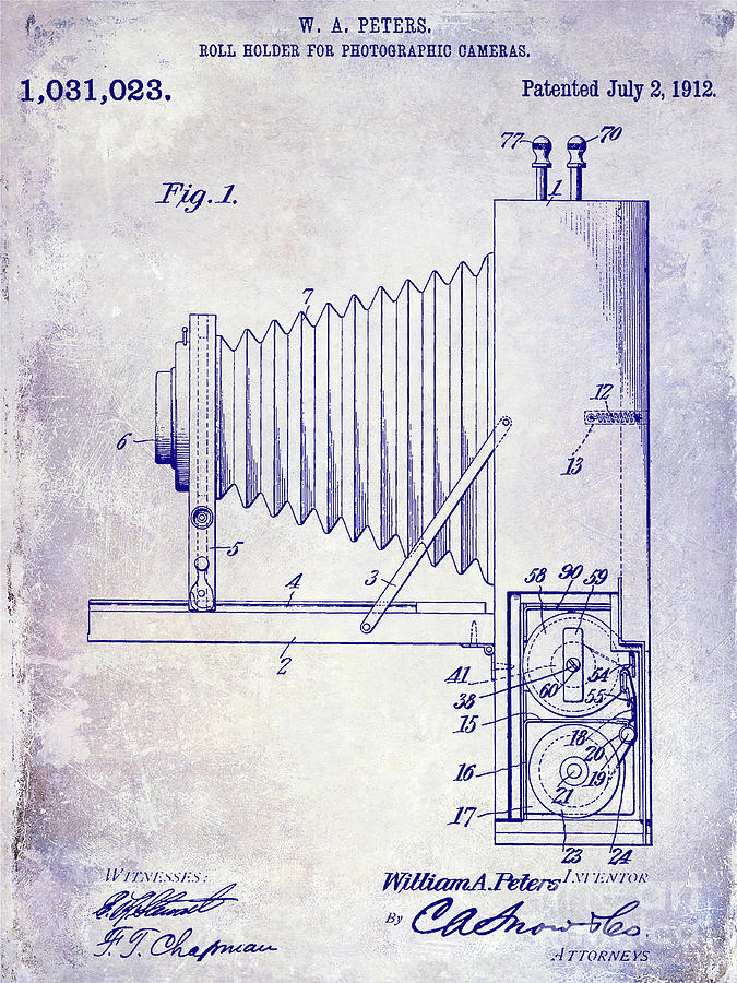 1937 Photograph - 1912 Camera Patent Blueprint by Jon Neidert