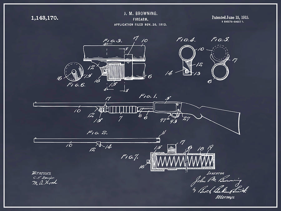 Art & Collectibles Drawing - 1913 Remington Model 17 Pump Shotgun Blackboard Patent Print by Greg Edwards
