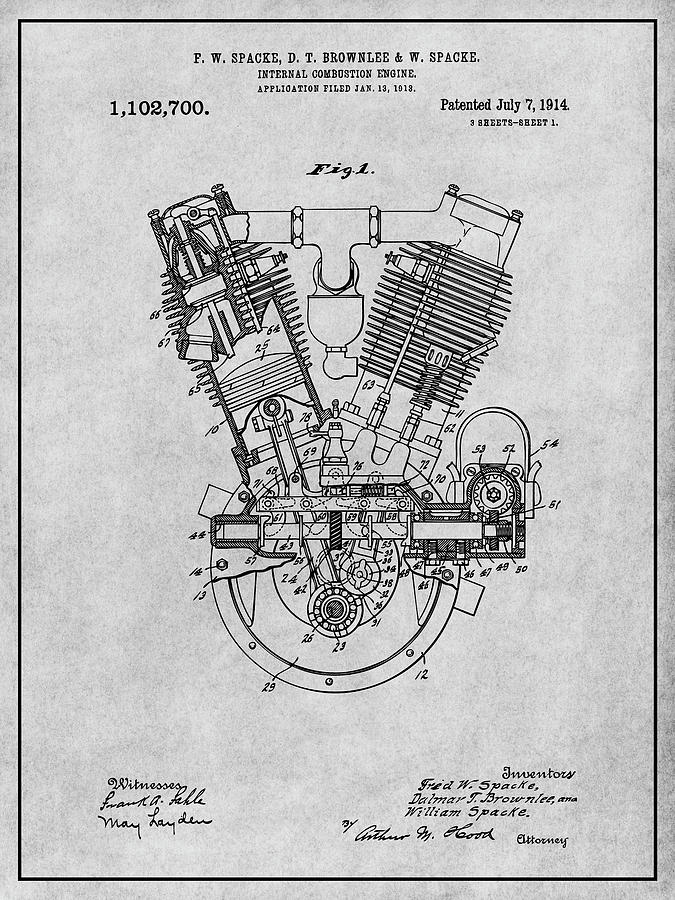 1914 Spacke V Twin Motorcycle Engine Gray Patent Print
