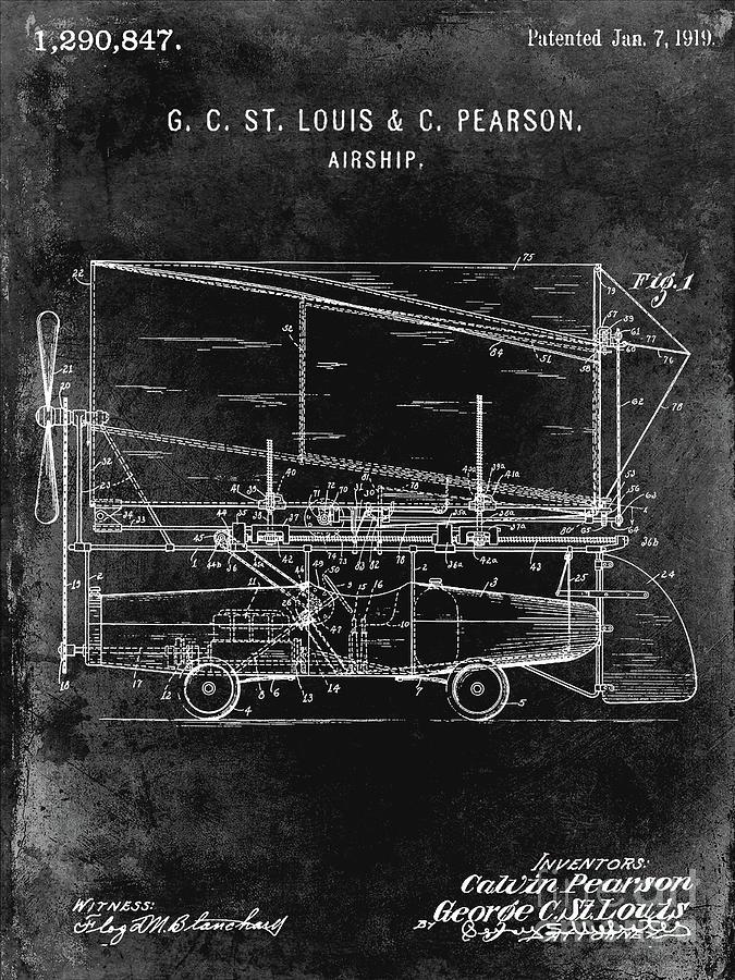 Patent Photograph - 1919 Airship Patent Black by Jon Neidert