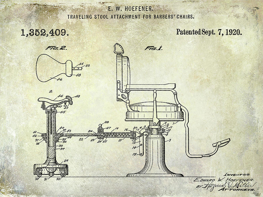 Drawing Photograph - 1920 Barber Chair Patent by Jon Neidert