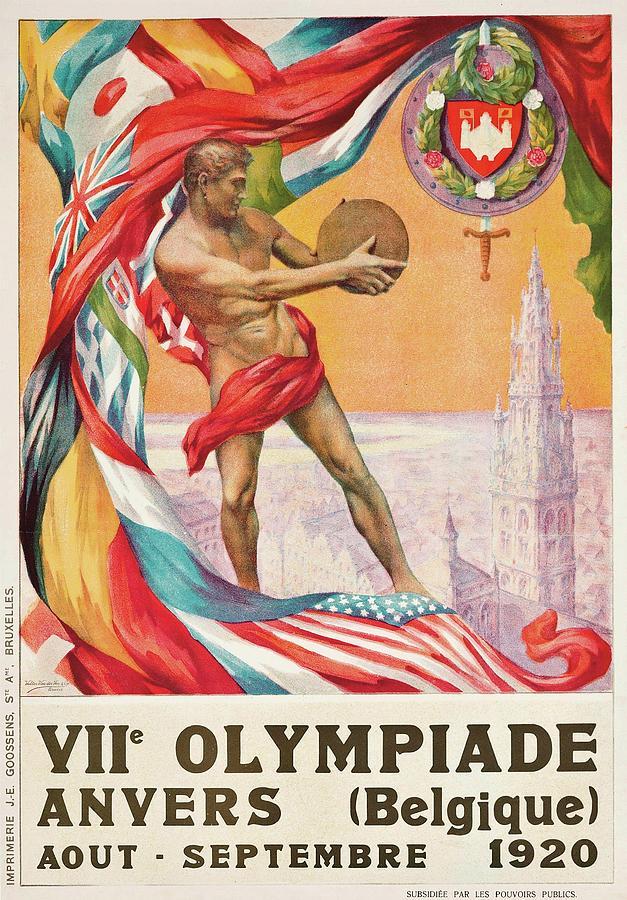 Summer Olympics Painting - 1920 Summer Olympics Vintage Poster by Walter van der Ven
