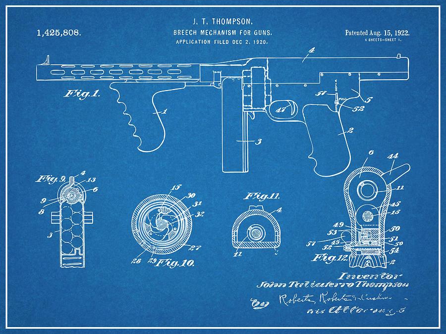 1922 Thompson Submachine Gun Blueprint Patent Print