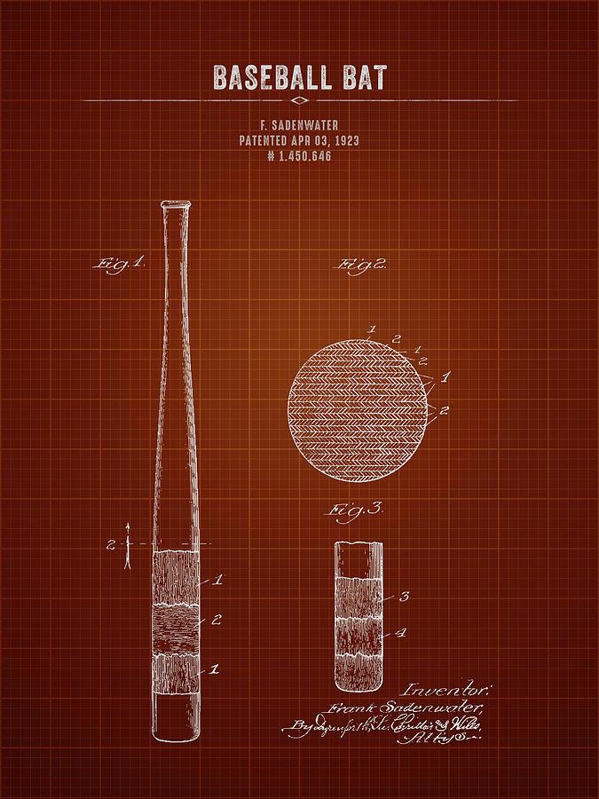 Baseball Digital Art - 1923 Baseball Bat - Dark Red Blueprint by Aged Pixel