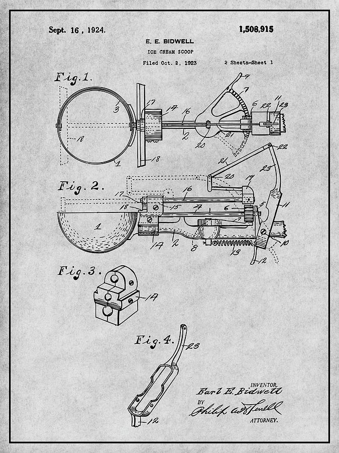 1924 Ice Cream Scoop Patent Print Gray