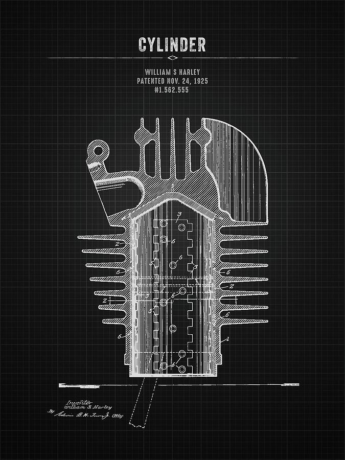 1925 Harley Davidson Cylinder Black Blueprint Digital Art By Aged Pixel